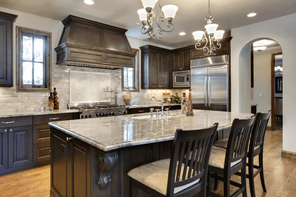 comptoir de cuisine en granite quartz marbre